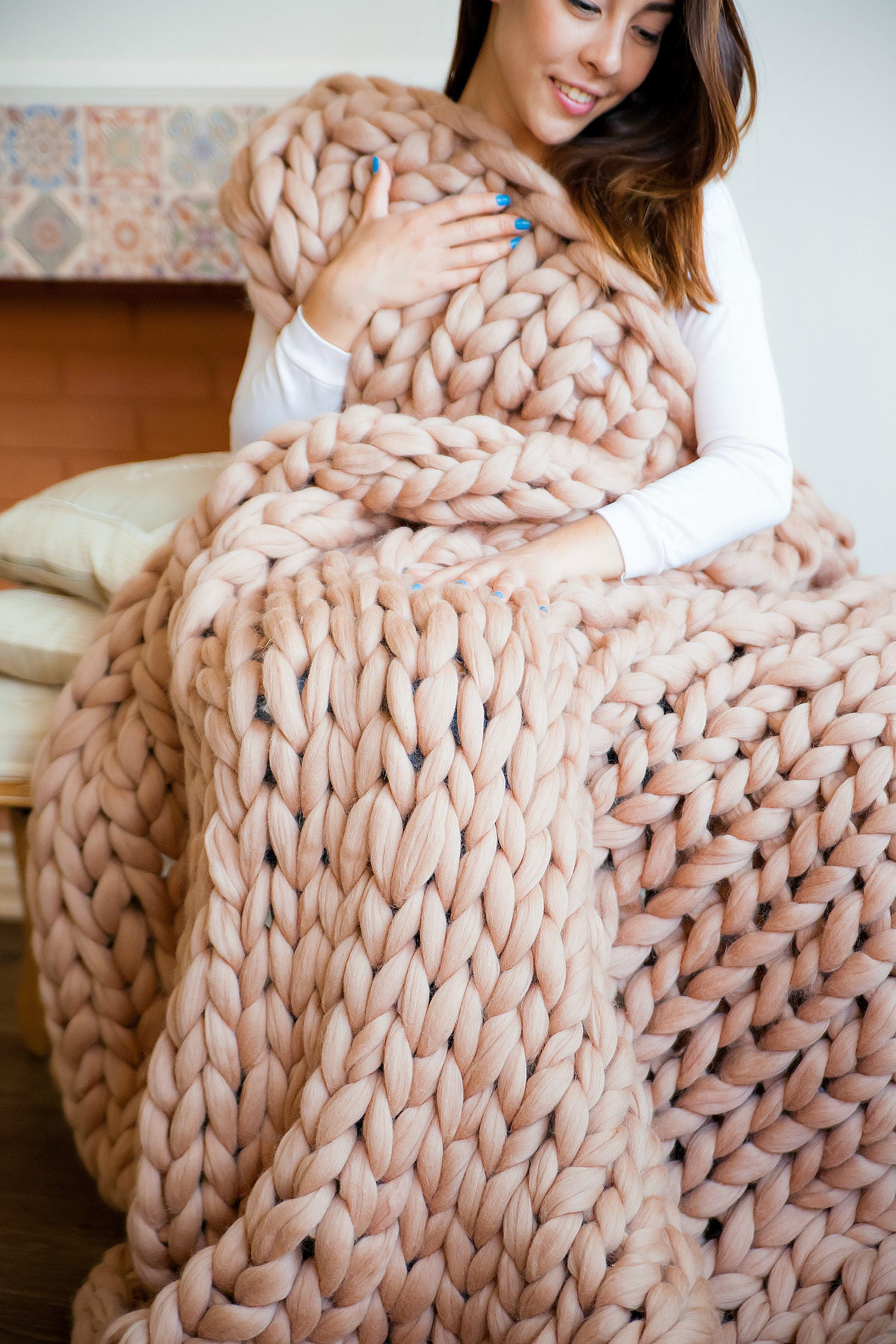 sale chunky knit blanket chunky blanket blanket merino wool. Black Bedroom Furniture Sets. Home Design Ideas