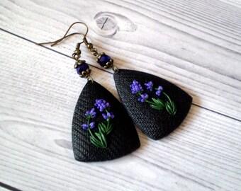 Lavender earrings Lavender jewellery Lavender jewelry Lavender art Lavender lover gift Large black earrings Polymer clay earrings Lavender