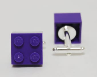 Made from Lego (r) Brick Translucent Purple Cufflinks | 80s toy retro personalized gift groomsmen gifts for him under 10 bridal party