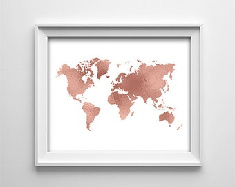 8x10 world map etsy instant download 8x10 printable digital art home wall art decor rose gold map sciox Gallery