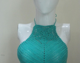 Crochet Summer Top,Festival Halter Top.