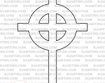 Celtic Cross Digital Stamp (Line_Art Printable_00066 KJArting)