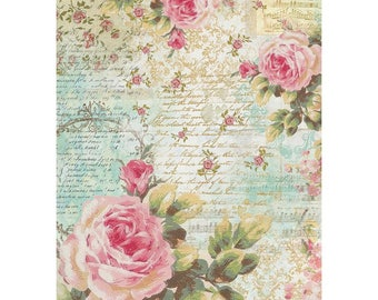 RICE PAPER DECOUPAGE, Rice Decoupage Paper, Stamperia Rice Paper, Decoupage Paper, Rose Paper, Mixed Media Paper, Printed Rice Paper