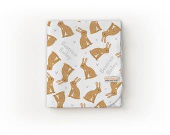 Bunny Blanket / Woodland Nursery / Woodland Theme - Name Blanket / Swaddle Blanket / Organic Baby Blanket / Organic Swaddle