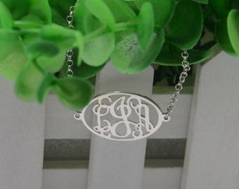 Personalized Monogram initials bracelet-Sterling silver monogram jewelry-custom initials gift for bestfriend