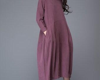 Linen dress, plus size dress, woman dress, midi dress, plus size clothing, linen dress woman, plus size linen, asymmetrical dress C1010