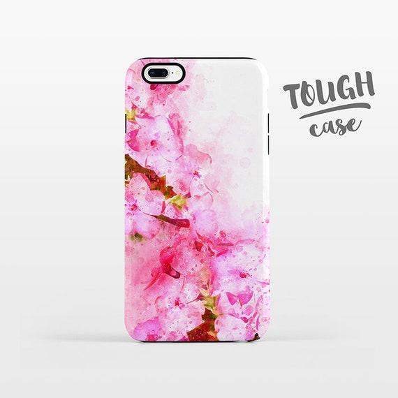 Watercolor Floral Phone Case iPhone 8 Plus Case iPhone X Case iPhone 7 Case iPhone 8 Case iPhone 6 Plus Case 6s 5s 5c 5 4 Pink Flowers TOUGH