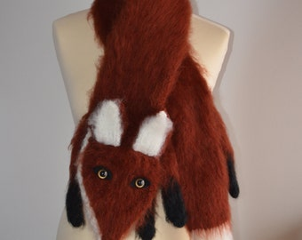Knit Fox Scarf Animal Scarf Wolf
