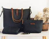 LARGE, dark navy diaper bag set. diaper bag, nappy pouch, change mat and detachable clips. Waterproof lining  available