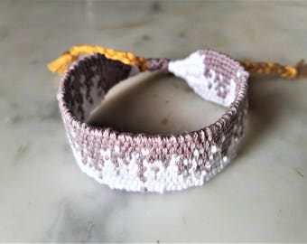 Taupe and white woven bracelet