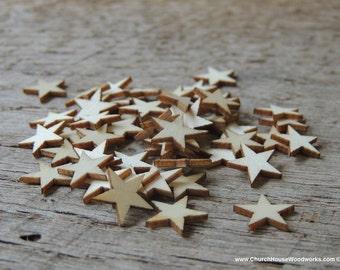 50 Tiny 1/2 inch Mini Wood Stars, Wood Confetti - Rustic Wedding Decor- Table Decorations- Wooden Stars-  DIY Craft Supplies 13mm Wood Flag