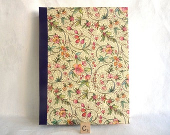 Handbound Florentine Journal Book Arts Pink Floral Solo Piegata Metallic Gold Fiddlehead Scroll Archival Quality Sketchbook Gold Leaf Spine