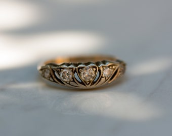 Vintage Crown and Hearts 14k Yellow Gold and White Diamond Wedding Band Anniversary Band Stacking Band Ring, Size 5 // Engagement Ring /