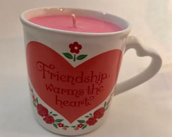 Soy mug candle, friendship candle, coffee mug candle, mug candle, rose scented candle, valentines day candle, soy candle hand poured, soy