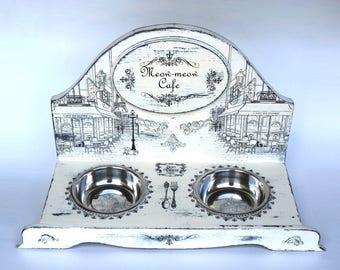 cat feeder,cat bowl, teacup feeder, cat bowl stand,  teacup bowl, bowl holder, cat buotique, cats, catfood , artwork,  pet bowl