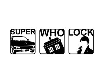 Super Who Lock Car Vinyl Decal - Supernatural, Doctor Who and Sherlock Holmes - for the nerd in all of us! Great gift for her and him