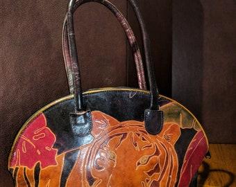 Vintage Hand Tooled Leather Handbag – Tiger Design