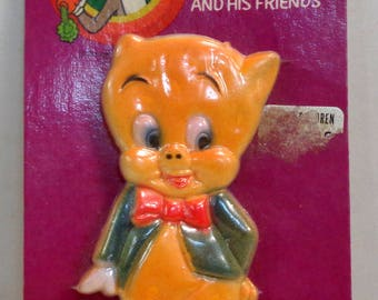 Bugs Bunny and His Friends, PORKY PIG, 1977, Baby Gum Massager, Sealed on Card, Warner Bros Cartoon Character, Vintage Collectible
