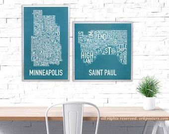 Minneapolis Neighborhood Map Poster or Print, Original Artist of Type City Neighborhood Map Designs, Typography Map Art