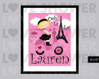 Paris Girl Wall Art - France French - Custom Wall Art Children - Kids Wall Art - Personalized - Nursery Room - Digital Printable - PDF - 076