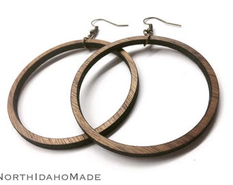 "2.25"" or Custom Size Lightweight Wood Hoop Earrings Custom Made to Order - Your Choice of Color Wooden Loop Earrings"