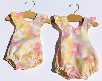 Vintage flower Romper | Baby Romper | Toddler Romper | photo outfit | Girl playsuit | baby bodysuit | summer ruffle romper