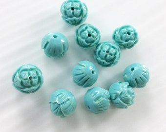 20pcs  10mm  Light Blue Lotus Flower Coral Beads