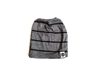 Ash Gray with Black Stripe Slouch Beanie