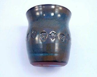 Handmade pottery ceramic wine cup tumbler with skulls -  pottery cup glazed blue for wine or water pottery tumbler.