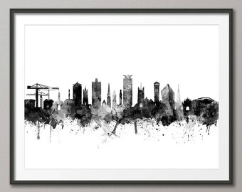 Plymouth Skyline, Plymouth Devon Cityscape Art Print (3147)