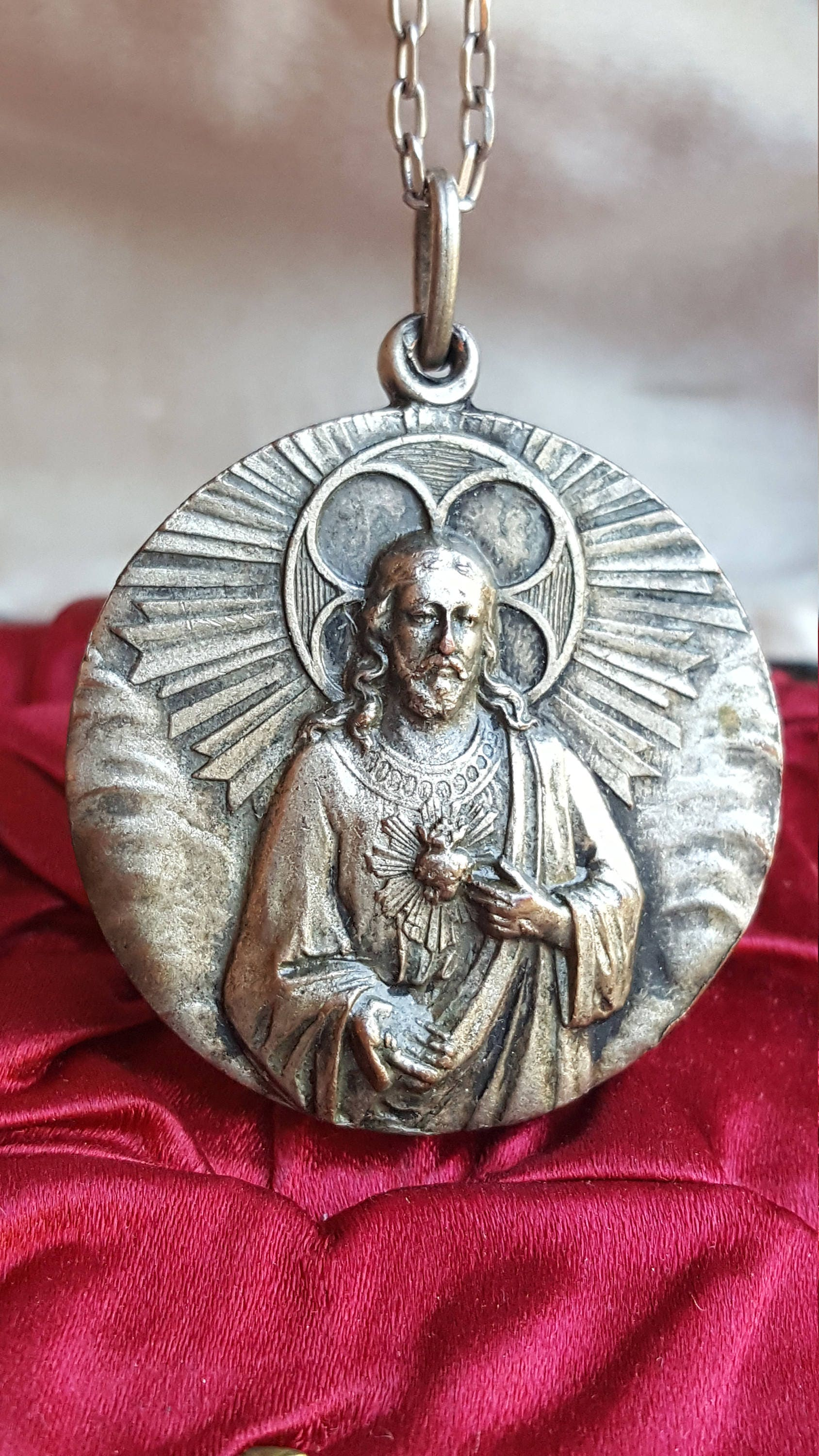 christ of medal heart by catholic lady sacred luxmeachristus charm religious mount our on etsy vintage pin medallion carmel jesus