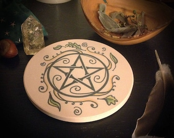 Sandstone Swirling Leave Pentacle Altar Tile