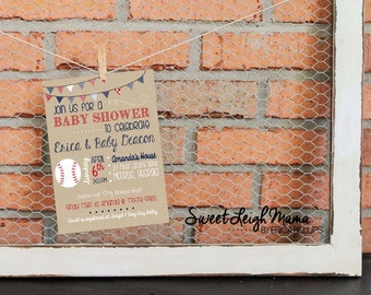 Baby Sprinkle Invitation - Baseball Theme - Baby Shower - Customize - Printable - 5x7 - Red, Navy Blue, White - Sports