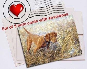 Right There Vizsla Note Card Set