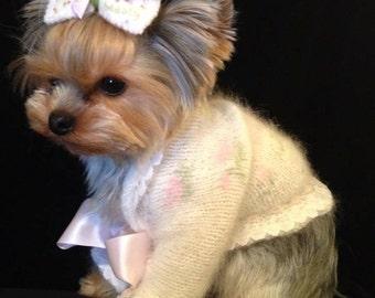 ROSEBUD SHRUG Original ANGORA Dog Sweater -- Custom -- Hand Knit -- All Sizes