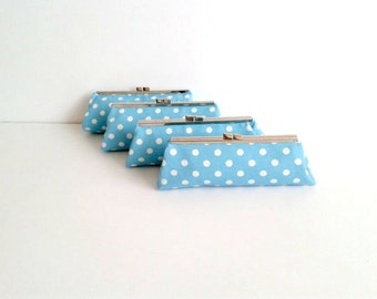Polka-dot Bridesmaid Gift Set- Bridesmaids clutches, Bridal Clutch, Bridesmaid clutch, Wedding Clutch, Couture