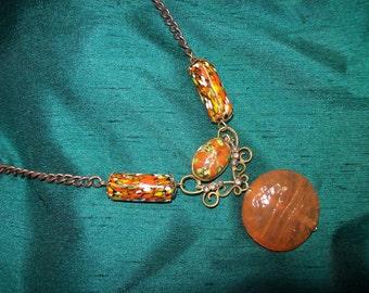 Handmade Vintage Millefiori & Glass Beads on Bronze Necklace OOAK orange