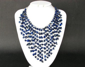 Necklace Lapis Lazuli Chip Beads Chain Linked Dangle NSLL1711