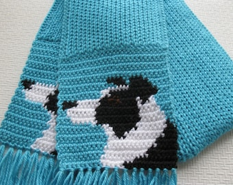 Border Collie Scarf. Turquoise knit and crochet scarf with black and white collie dogs. Knitted dog scarf. Border collie gift