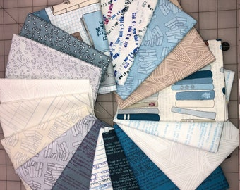 18 Literary Fat Quarters Windham Heather Givans White Blue Beige Book Paper Fabric