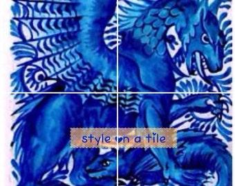 "Lovely Arts and Crafts William De Morgan Blue Saphire Dragon Beast 4 x 6"" or 152mm ceramic tile mural mosaic wall art splash back"