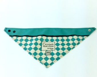 Turquoise diamond  Dog scarf with snaps / Medium size  with Reflective stripes