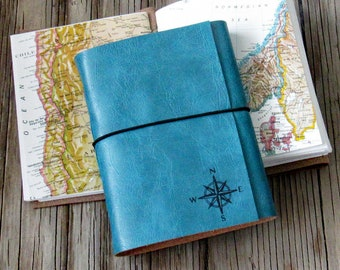 explorer journal with maps a travel journal, compass  - blue faux leather - moms, dads, grads gift