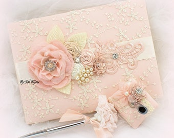 Blush Lace Guest Book,Pink Wedding Signature Book,Wedding Sign In Book,Guestbook,Wedding Pen,Book for Signatures,Vintage Style,Elegant