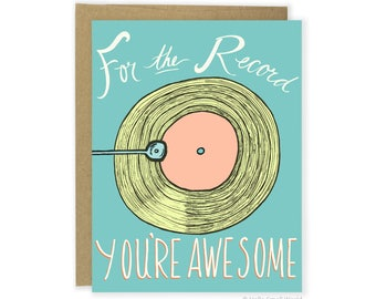 Funny Love Card, Anniversary Card, Pun Card, Funny Friend Card, Thank You Card, Boyfriend Card, Girlfriend, Wife Husband For The Record Card