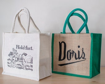 Jute Shopping Bag. Small Jute Bag. Jute Bag With Motto. Doris Bag. Hold Fast Bag. Shopping Tote. Storage Bag. Gift Under 5. Stocking Filler.