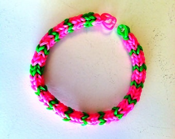 """Pretty In Pink, RAINBOW LOOM Hexafish Size 7"""" Adult Size Bracelet in Pink and Green.  Very Pretty!"""