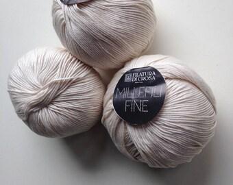 9 Balls of Gorgeous Ivory Italian Cotton Yarn
