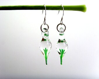 Tiny Flameworked Glass Earrings, Hand Made Glass Earrings, Whimsical Earrings, Green Glass Earrings, Nature Lovers Jewelry