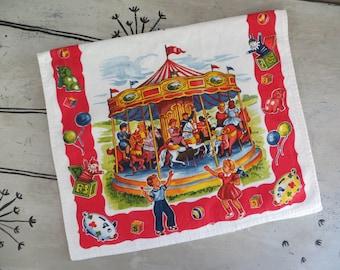 Cotton G W Prismacolor Kitchen Towel Carousel Merry Go Round Amusement Park Colorful Kitchen Towel Retro Towel Vintage Dish Towel
